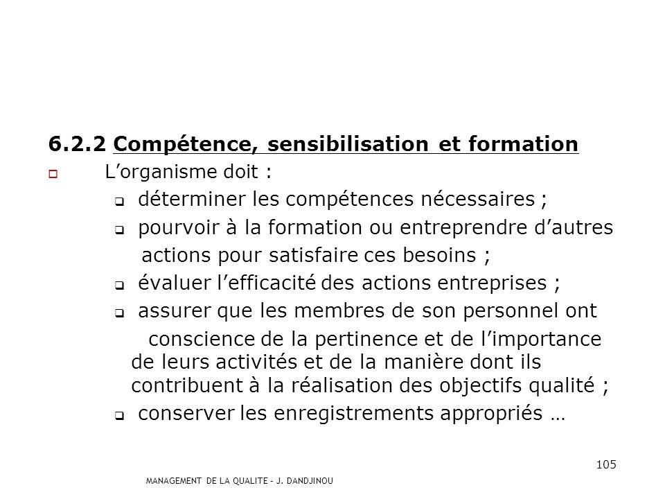 6.2.2 Compétence, sensibilisation et formation