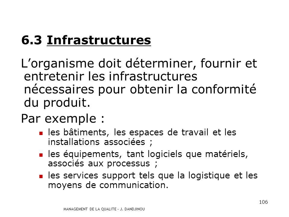 6.3 Infrastructures L'organisme doit déterminer, fournir et entretenir les infrastructures nécessaires pour obtenir la conformité du produit.