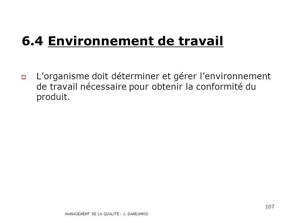 6.4 Environnement de travail