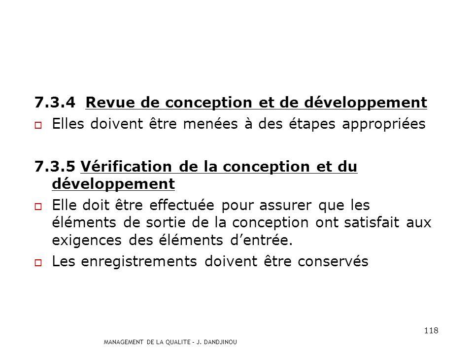 7.3.4 Revue de conception et de développement