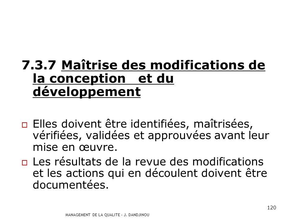 7.3.7 Maîtrise des modifications de la conception et du développement