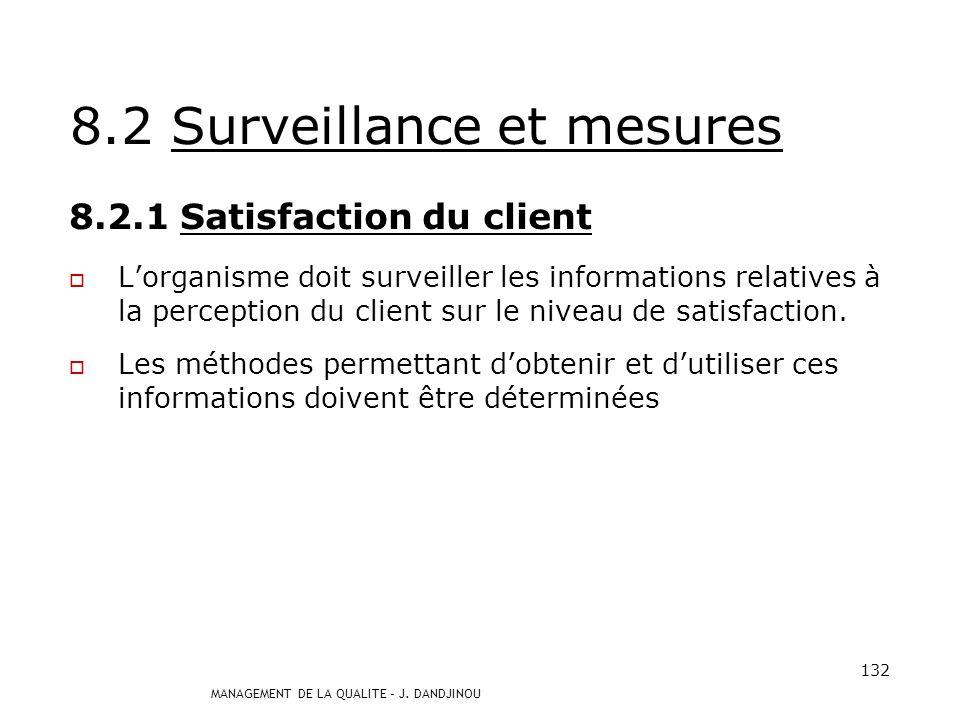 8.2 Surveillance et mesures