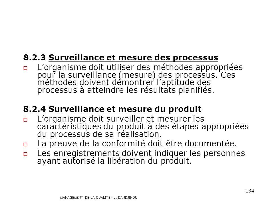 8.2.3 Surveillance et mesure des processus