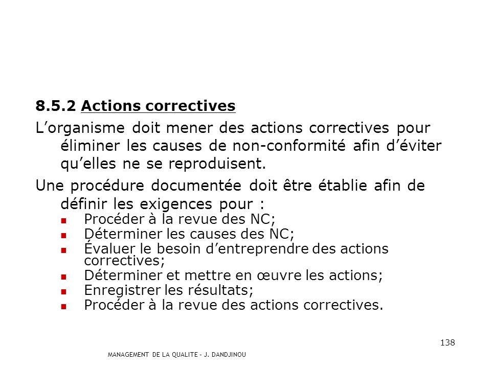 8.5.2 Actions correctives