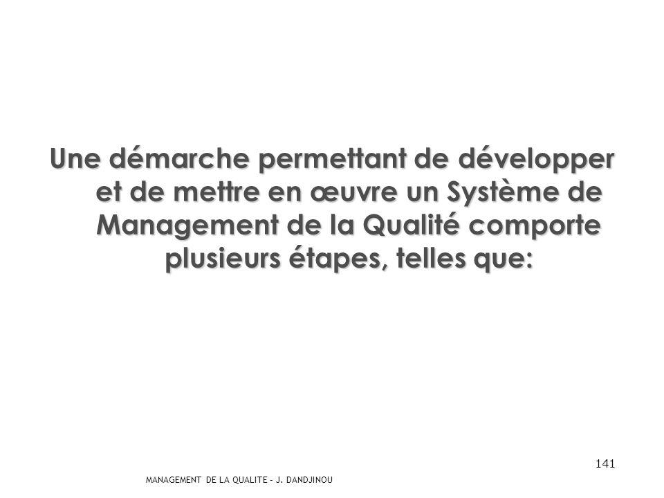 Une démarche permettant de développer et de mettre en œuvre un Système de Management de la Qualité comporte plusieurs étapes, telles que: