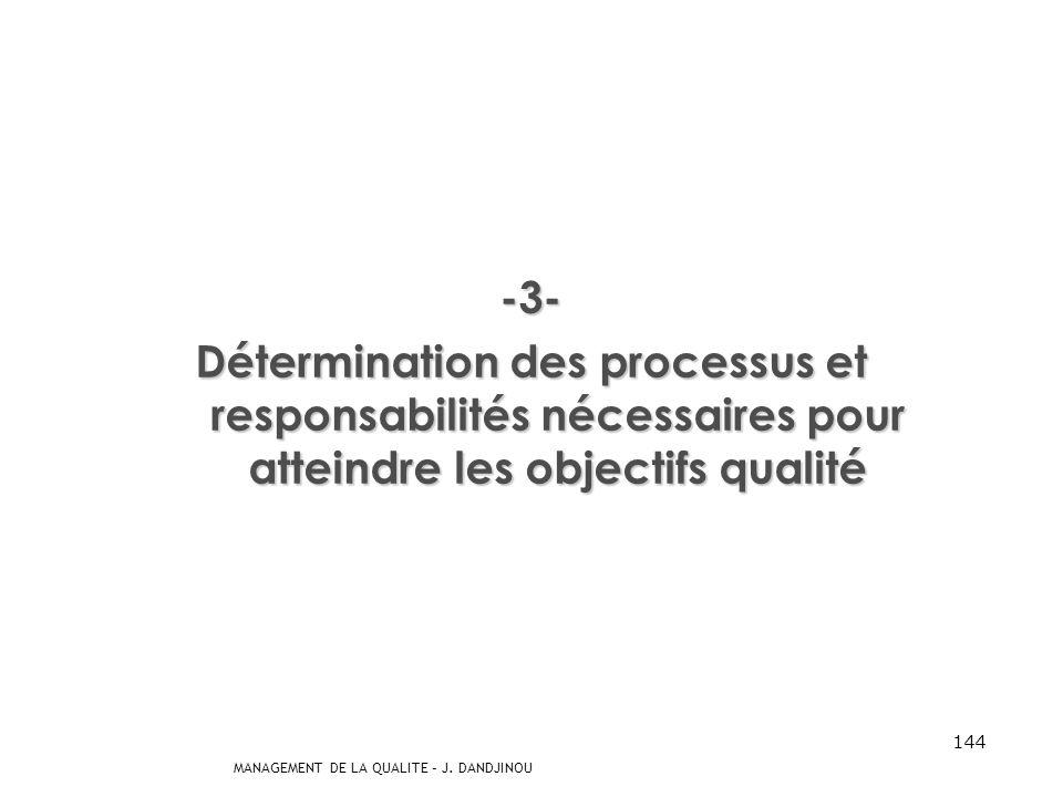 -3- Détermination des processus et responsabilités nécessaires pour atteindre les objectifs qualité.