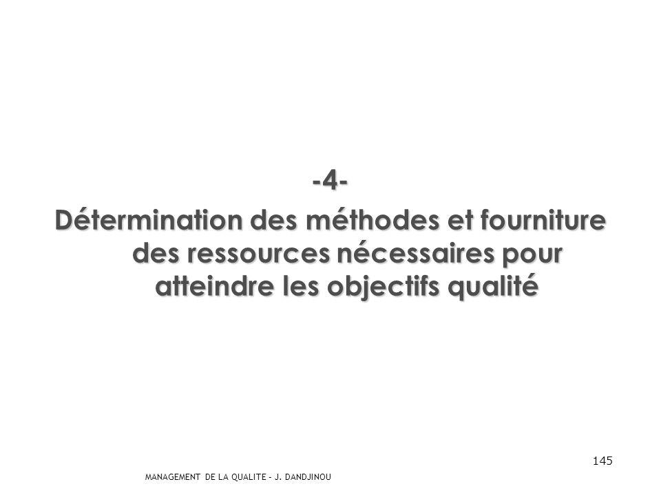 -4- Détermination des méthodes et fourniture des ressources nécessaires pour atteindre les objectifs qualité.