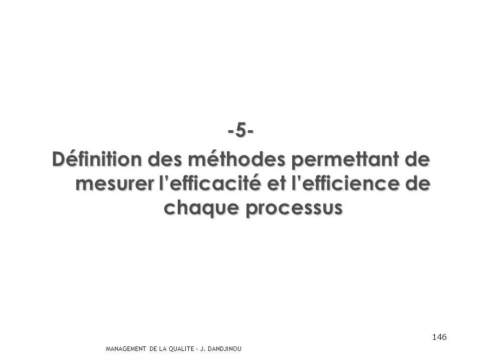-5- Définition des méthodes permettant de mesurer l'efficacité et l'efficience de chaque processus.