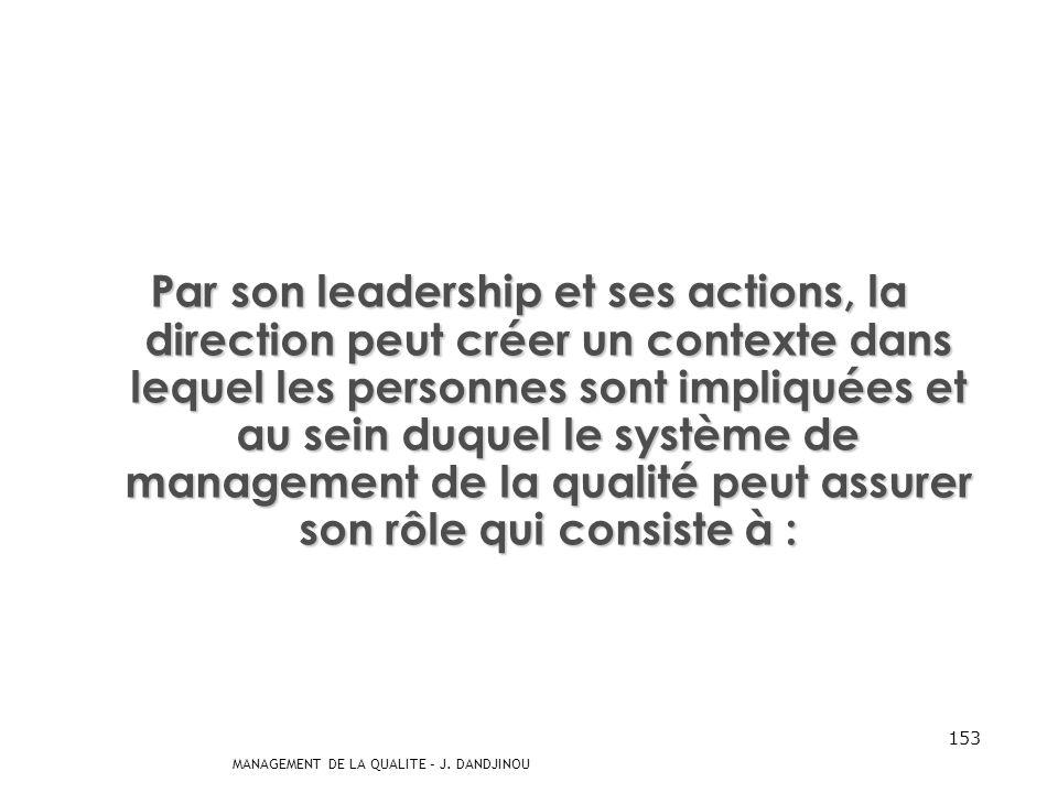 Par son leadership et ses actions, la direction peut créer un contexte dans lequel les personnes sont impliquées et au sein duquel le système de management de la qualité peut assurer son rôle qui consiste à :