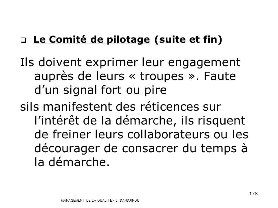 Le Comité de pilotage (suite et fin)