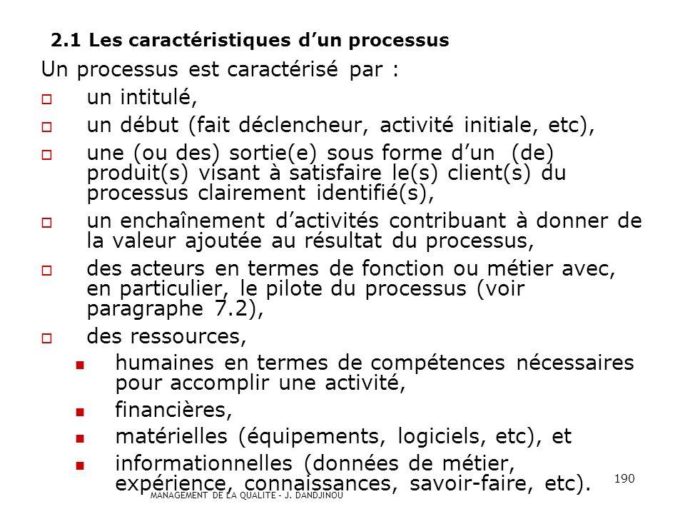 2.1 Les caractéristiques d'un processus