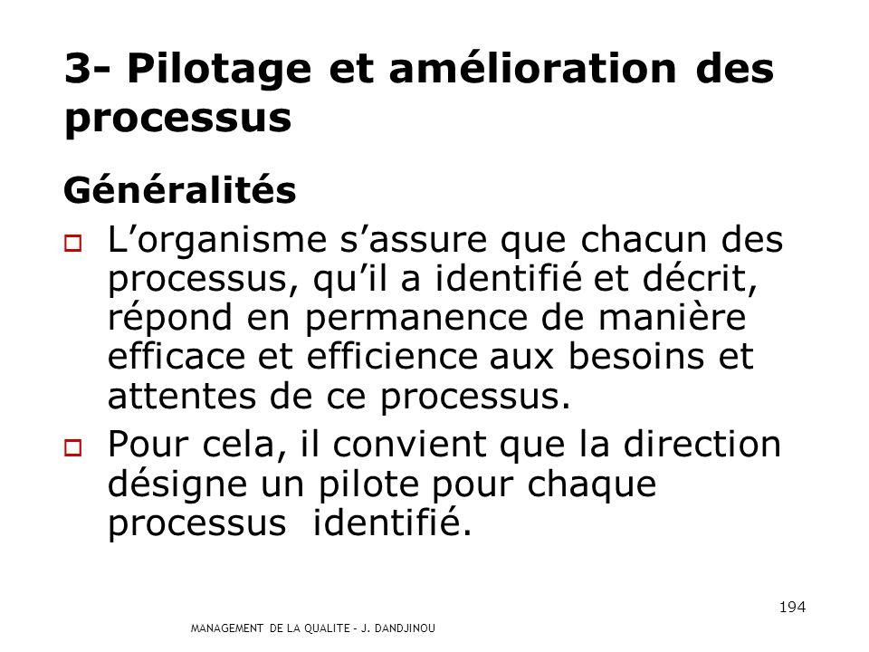 3- Pilotage et amélioration des processus