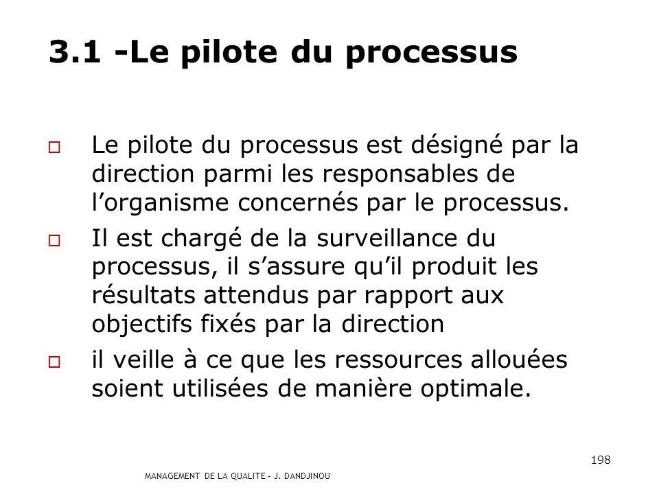 3.1 -Le pilote du processus