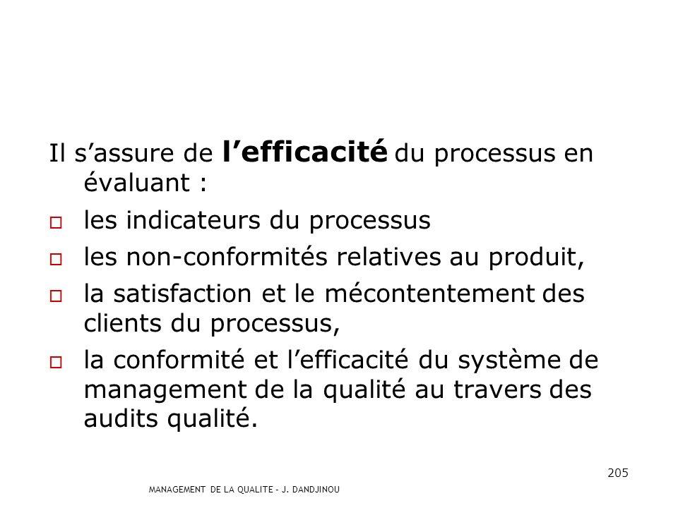 Il s'assure de l'efficacité du processus en évaluant :