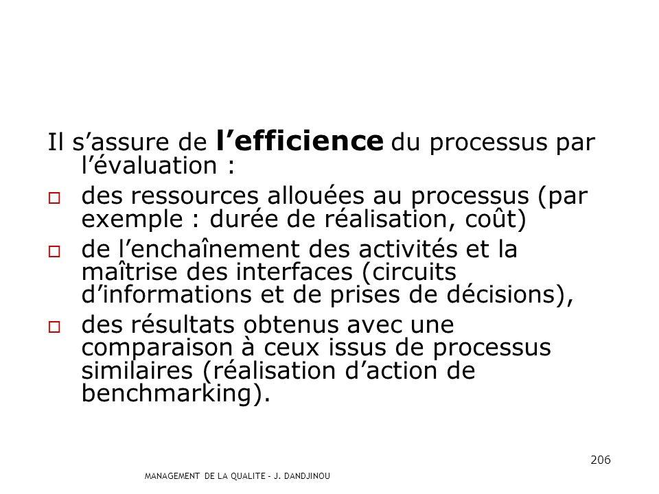 Il s'assure de l'efficience du processus par l'évaluation :