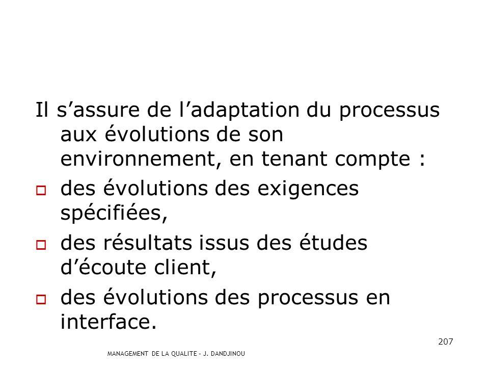 Il s'assure de l'adaptation du processus aux évolutions de son environnement, en tenant compte :