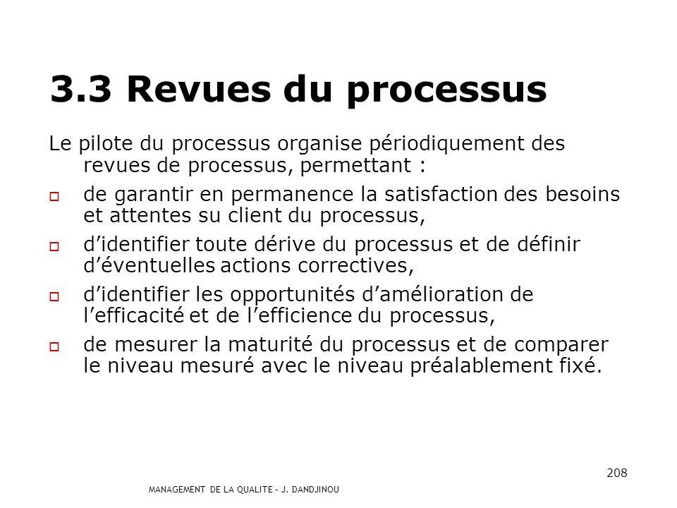 3.3 Revues du processus Le pilote du processus organise périodiquement des revues de processus, permettant :
