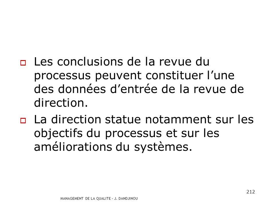 Les conclusions de la revue du processus peuvent constituer l'une des données d'entrée de la revue de direction.