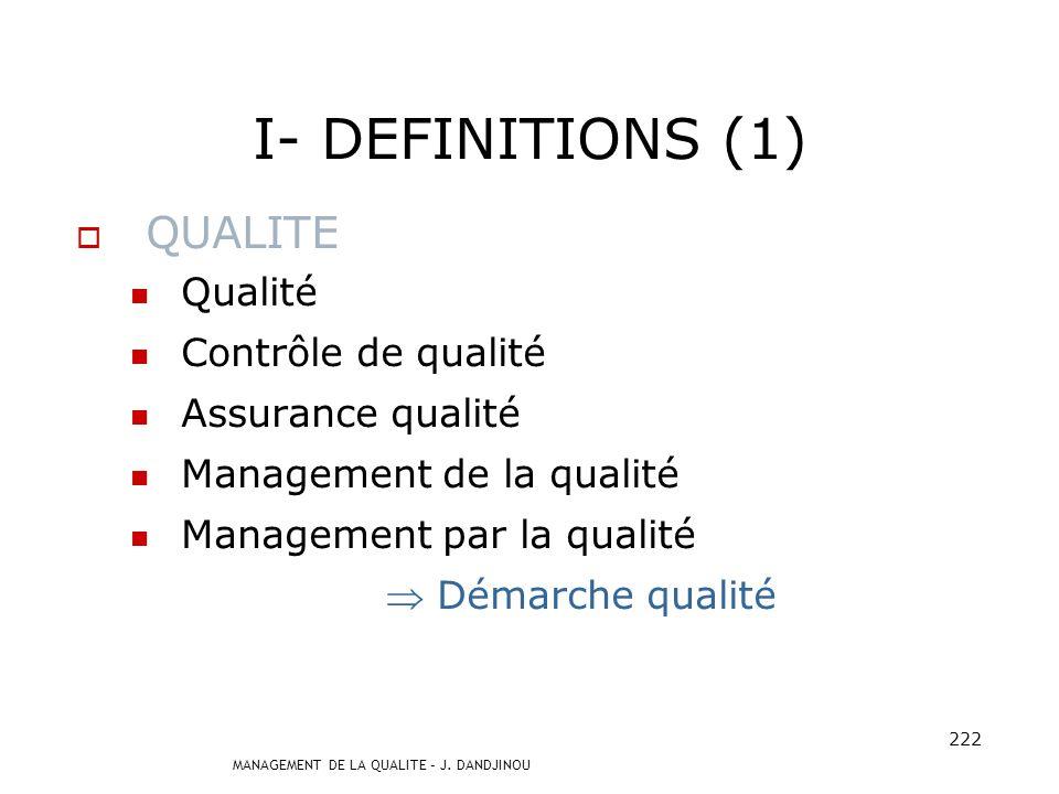 I- DEFINITIONS (1) QUALITE Qualité Contrôle de qualité
