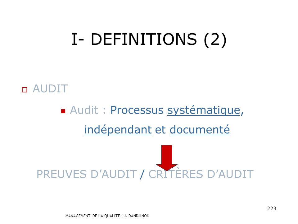 Audit : Processus systématique, indépendant et documenté