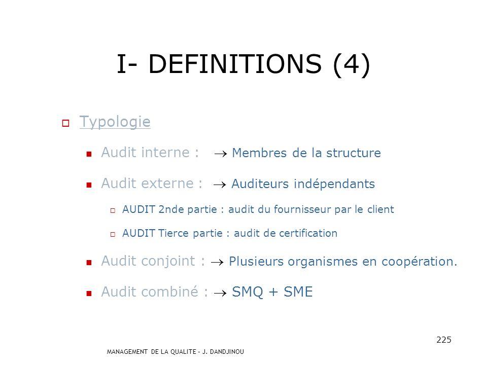 I- DEFINITIONS (4) Typologie Audit interne :  Membres de la structure