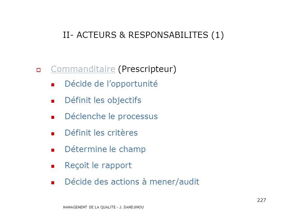 II- ACTEURS & RESPONSABILITES (1)