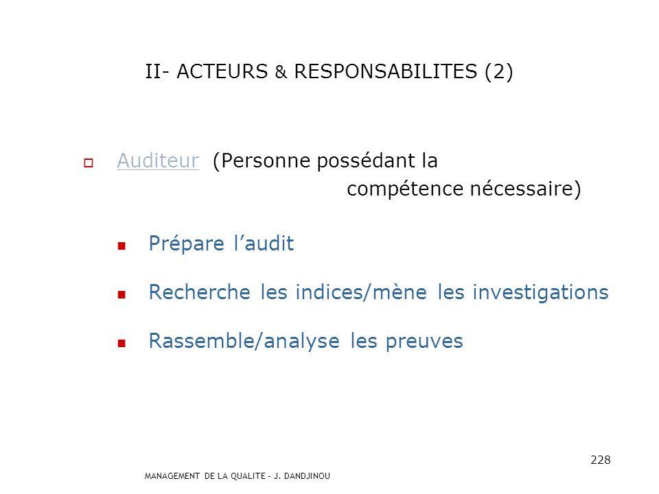 II- ACTEURS & RESPONSABILITES (2)