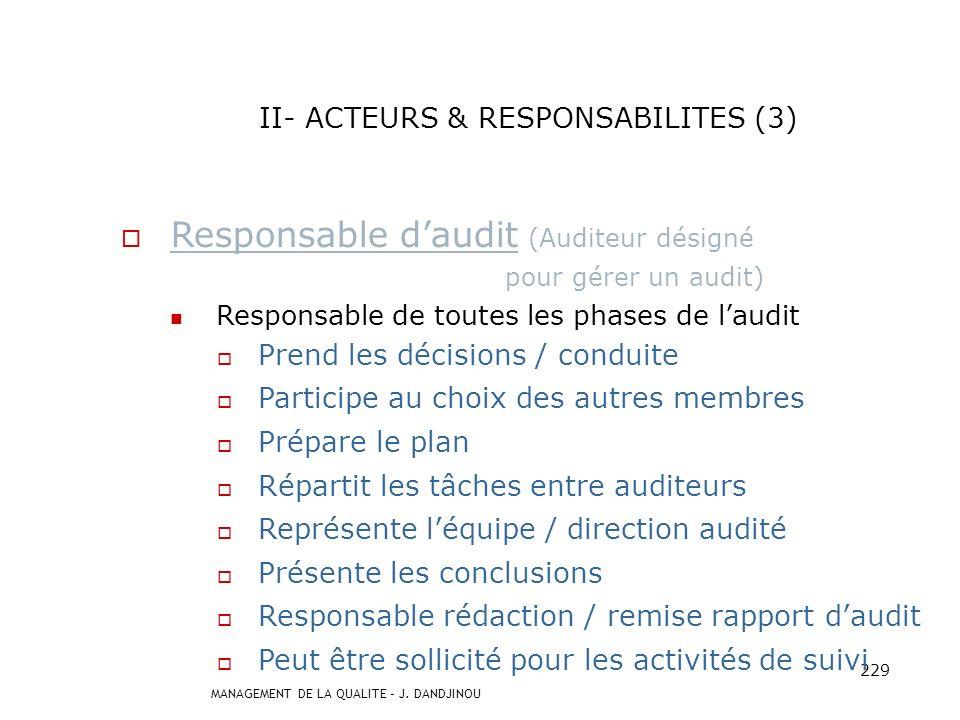 II- ACTEURS & RESPONSABILITES (3)