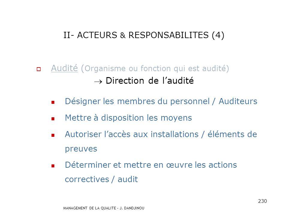 II- ACTEURS & RESPONSABILITES (4)
