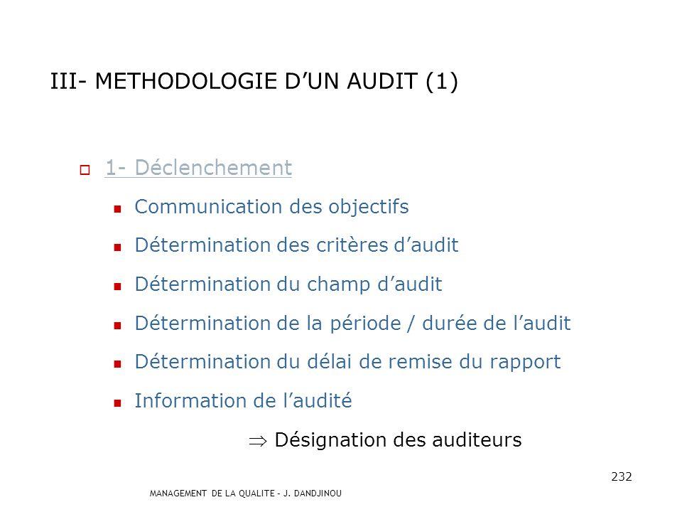 III- METHODOLOGIE D'UN AUDIT (1)