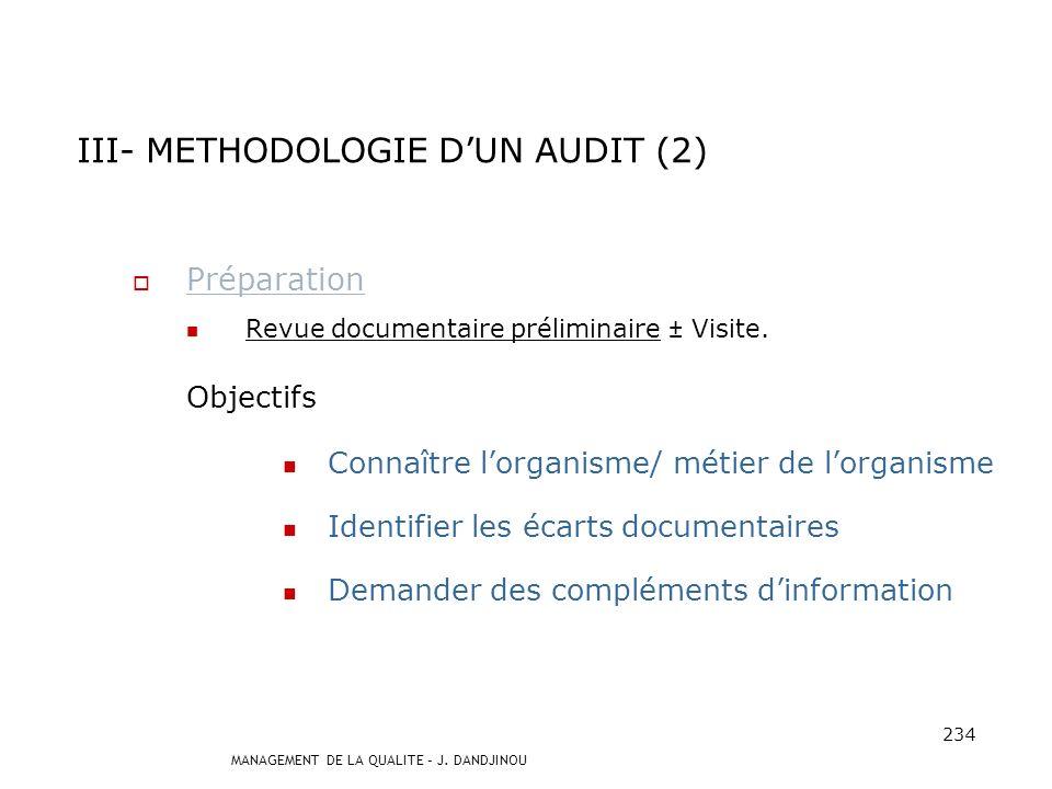 III- METHODOLOGIE D'UN AUDIT (2)