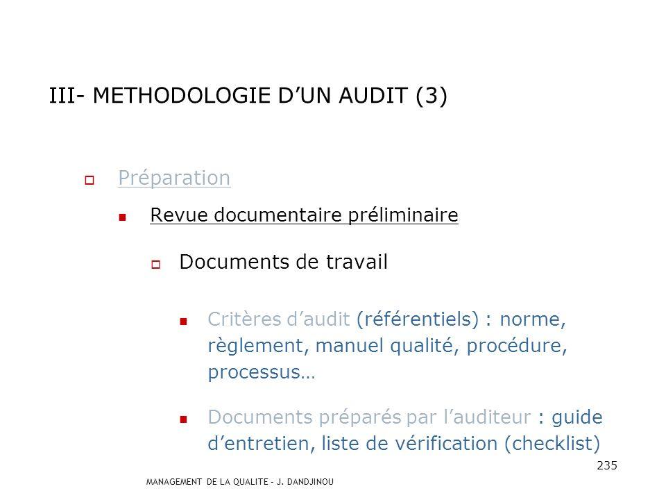 III- METHODOLOGIE D'UN AUDIT (3)