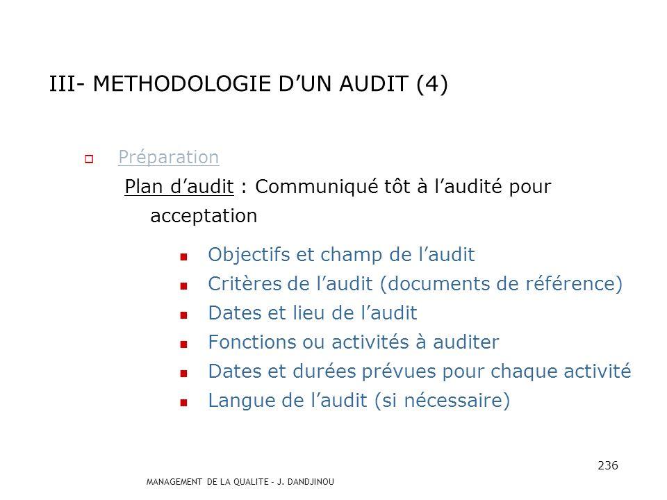III- METHODOLOGIE D'UN AUDIT (4)