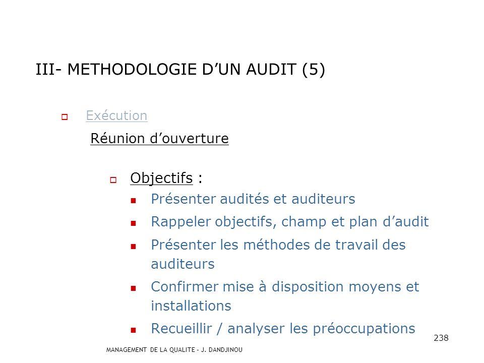 III- METHODOLOGIE D'UN AUDIT (5)