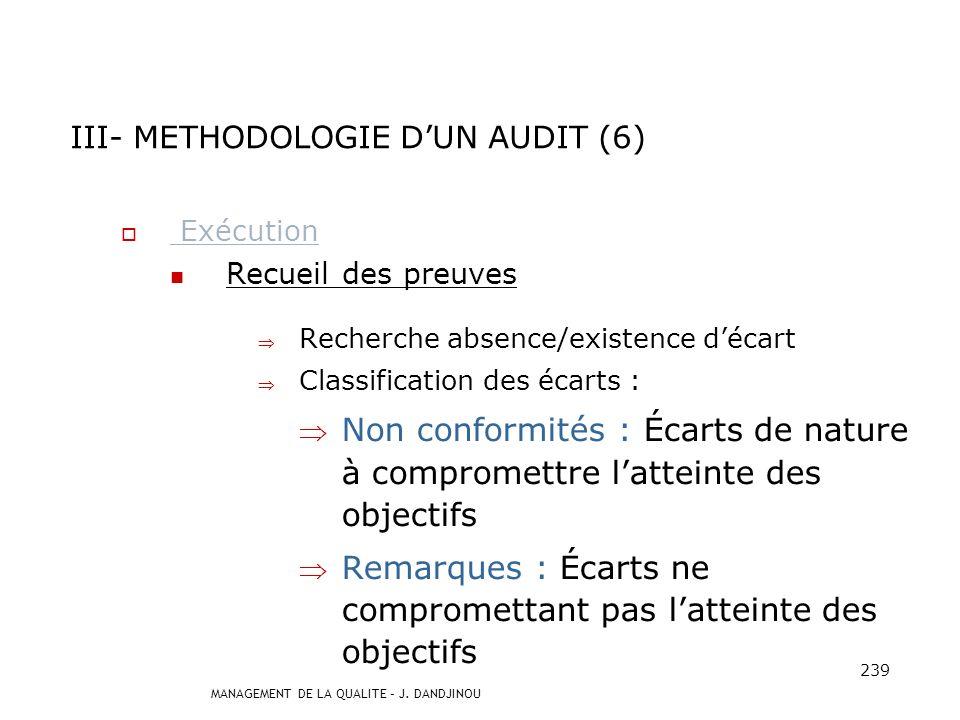 III- METHODOLOGIE D'UN AUDIT (6)