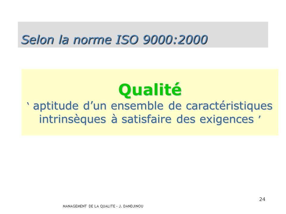 Qualité Selon la norme ISO 9000:2000