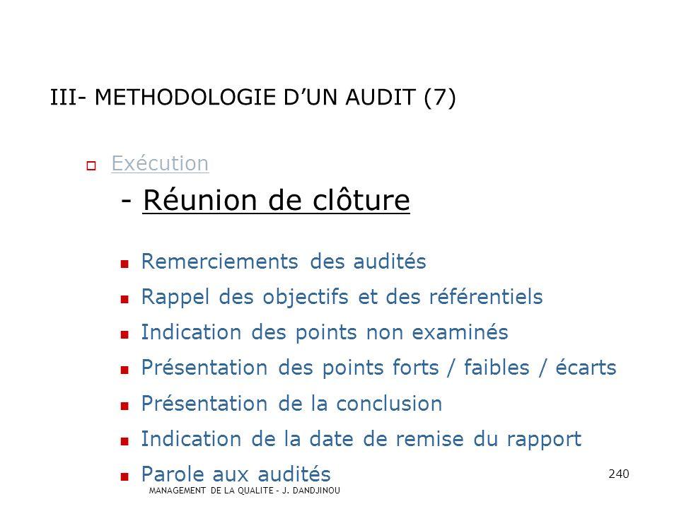 III- METHODOLOGIE D'UN AUDIT (7)