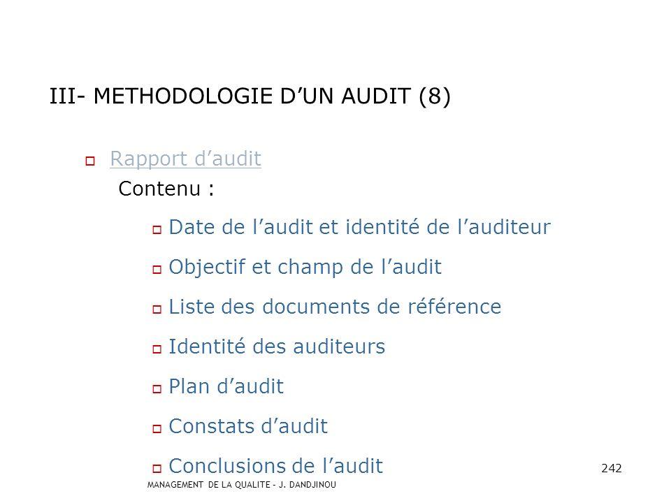 III- METHODOLOGIE D'UN AUDIT (8)