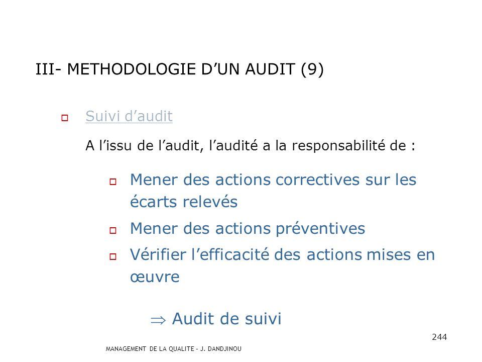III- METHODOLOGIE D'UN AUDIT (9)
