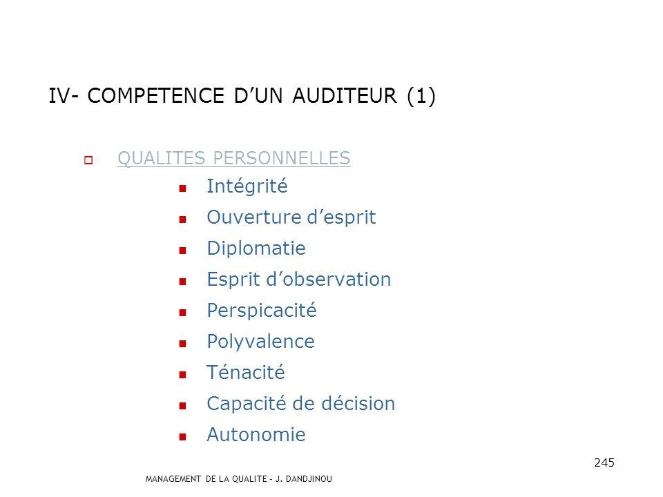 IV- COMPETENCE D'UN AUDITEUR (1)