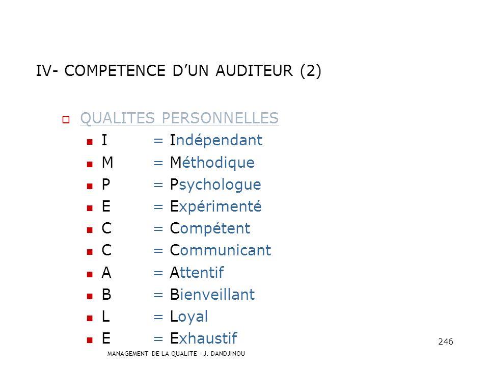IV- COMPETENCE D'UN AUDITEUR (2)