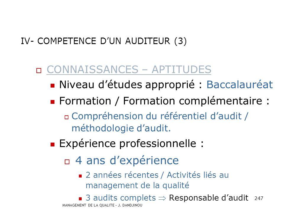 IV- COMPETENCE D'UN AUDITEUR (3)