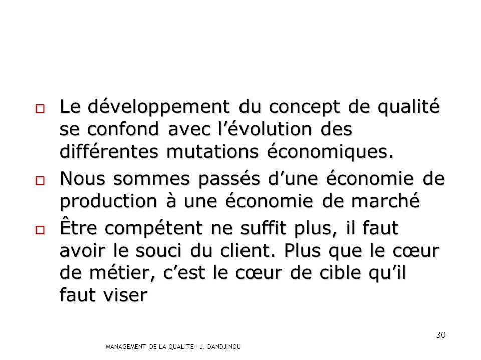 Le développement du concept de qualité se confond avec l'évolution des différentes mutations économiques.