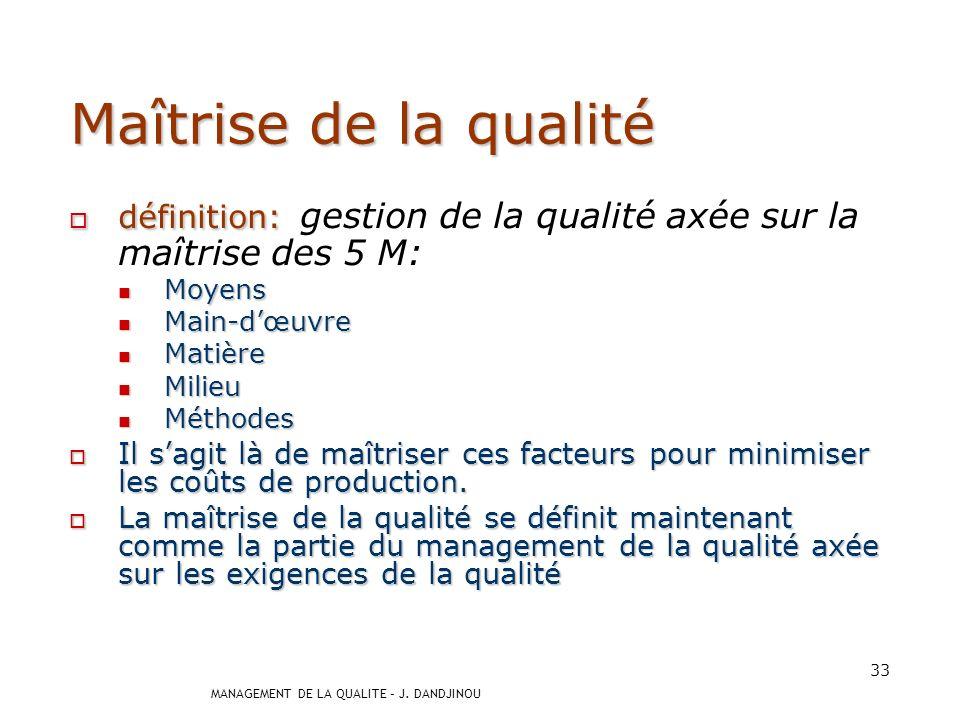 Maîtrise de la qualité définition: gestion de la qualité axée sur la maîtrise des 5 M: Moyens. Main-d'œuvre.