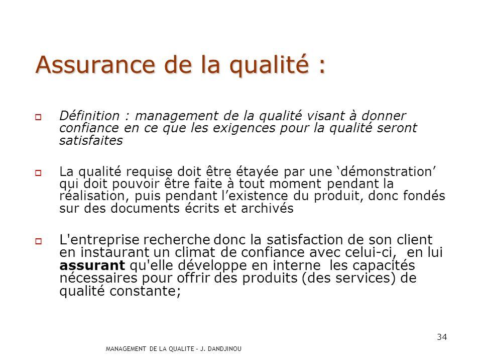 Assurance de la qualité :