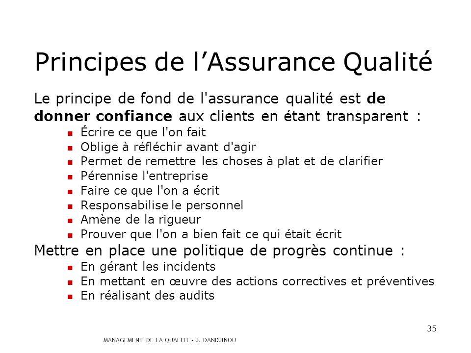 Principes de l'Assurance Qualité