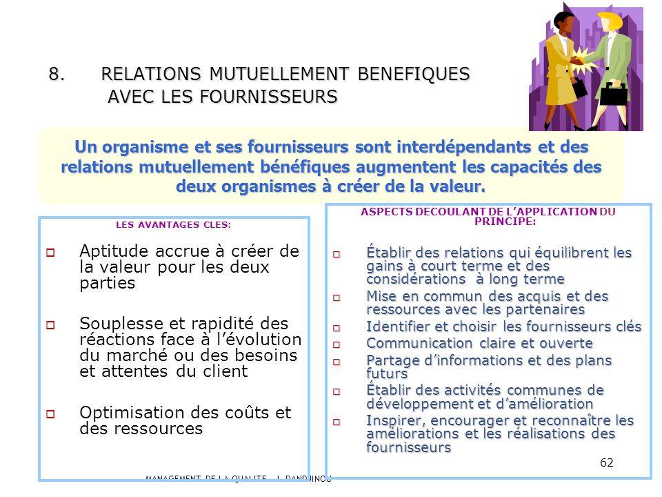 RELATIONS MUTUELLEMENT BENEFIQUES AVEC LES FOURNISSEURS