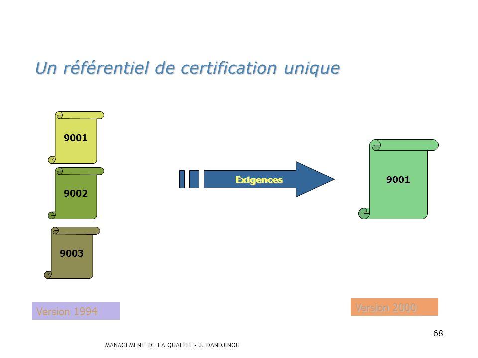 Un référentiel de certification unique