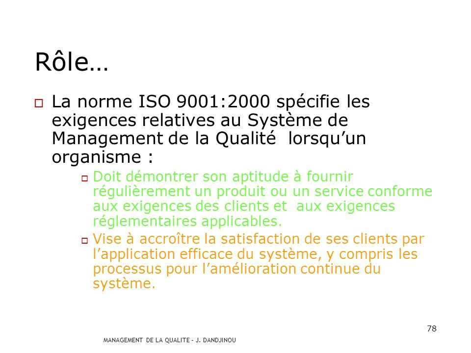 Rôle… La norme ISO 9001:2000 spécifie les exigences relatives au Système de Management de la Qualité lorsqu'un organisme :