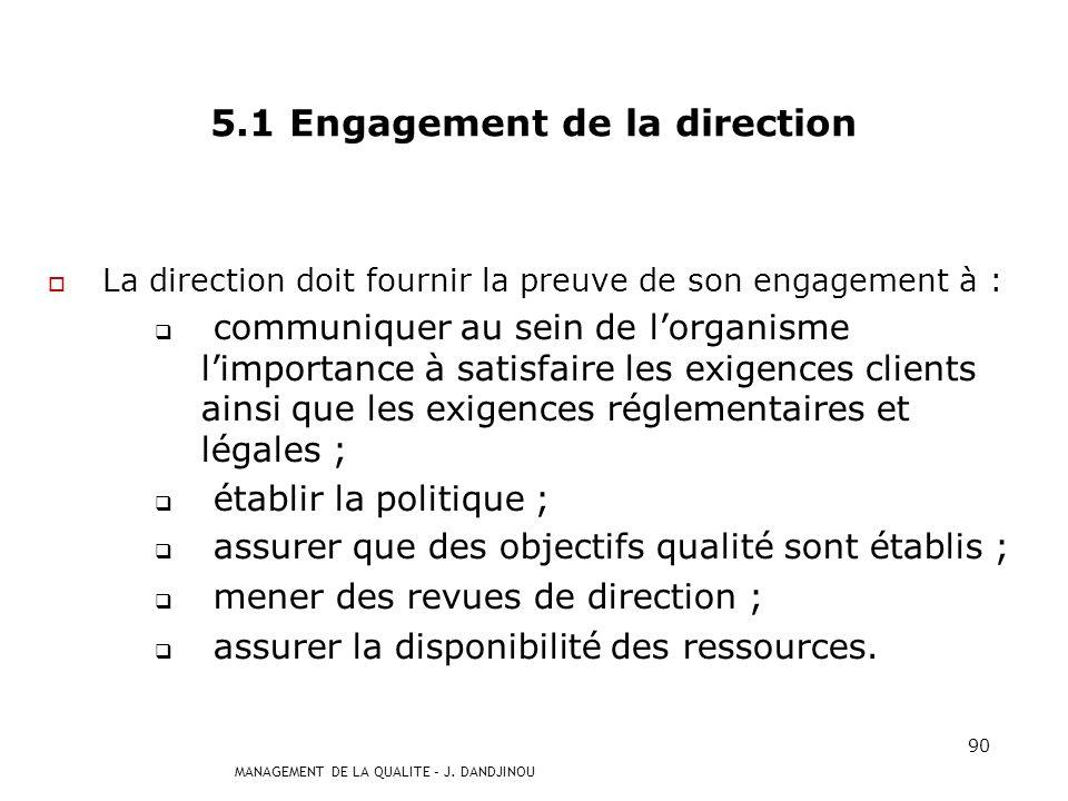 5.1 Engagement de la direction